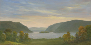 Sun breaking through over the Hudson Highlands