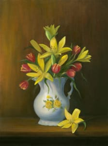 antique white pitcher with lilies and tulips
