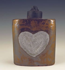 Crazy White Heart Flask