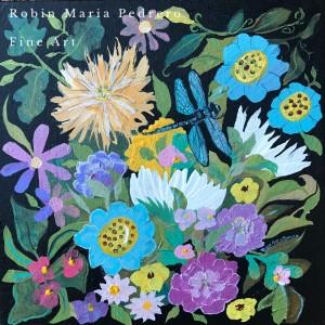 Dragonfly and flowers robin maria pedrero art ushpwe