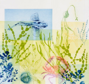 Drifting Seaweeds with Flying Fish & Spotty Crab