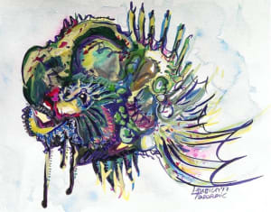 Abstract Alien Fish Drawing
