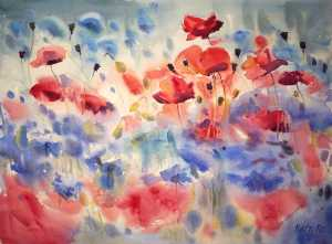 2016 art watercolor floral painting poppies cornflowers by kate kos   ballet in bloom ur5wsw