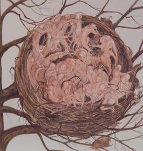Dimitrina kutriansky nest of despair pen and ink with wash 16x15 azwvox