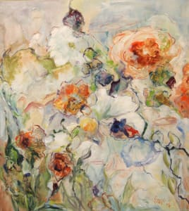 Mary helen seago 40x36 abstract floral grcneo