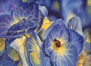 Blue garden 16x12 oil painting of flowers with ladybug 300 i8zm8d