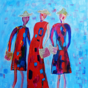 1701 scrivener   downtown divas acrylic collage canvas 24x24 wr three ladies  sisters downtown rfgv1w