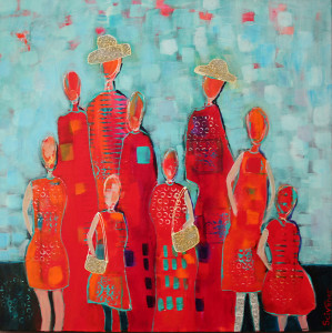 1702 scrivener ladies in red  acrylic collage canvas 24x24 wr ladies in red dresses zhumra