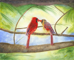 Cardinal Regale, 8 x 10 original watercolor © Sherry Mason