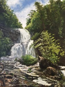 Rough Run Falls - Opened Dam, 16 x 12 original oil on cotton , © Sherry Mason