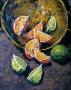 Limes & Oranges in Brass Bowl