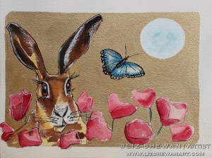 Hare butterfly red flowers liz shewan artist 2017 ng0quw