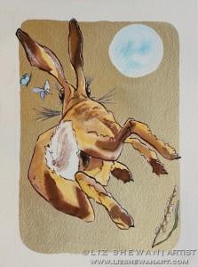 Running hare chasing butterlies playing gold leaf liz shewan artist 2017 b8n2ho