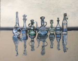 Six Ialian Oil Bottles and One Grappa