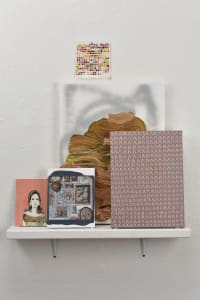 04 kirstin lamb with embroidered salon 2015 dimensions variable acrylic and gouache on canvas panel paper shelf uphnto