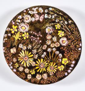 Kirstin lamb floral tondo 2017 gouache marker and acrylic on canvas 12 in diameter hhljyo