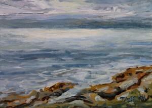 Morning sea strait of georgia 5 x 7 inch acrylic plein air sketch by terrill welch july 13 2017 img 7951 fqknj4
