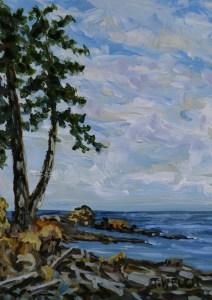 Morning sky strait of georgia 7 x 5 inch acrylic plein air sketch on gessobord by terrill welch july 13 2017 img 8015 ghvgwe