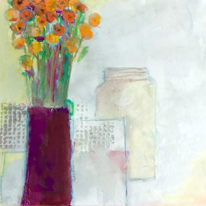 Marigolds in fuschia vase 20x20 ekusvy