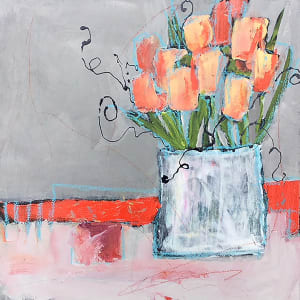 Peach tulips in pail 10x10 zo2iwc