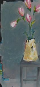 Pink tulips on grey 24x36 lyszvv