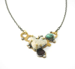 Coral Necklace with Larimar and Amber Seaglass