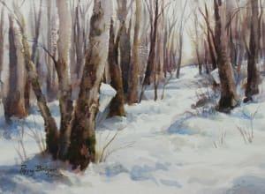 Snowy Road Through Maples