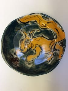 Porcelain Animal Plate - squirrel with acorn