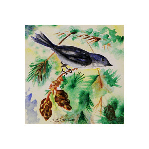 V1 1642 pine bird iii canvas qiseez