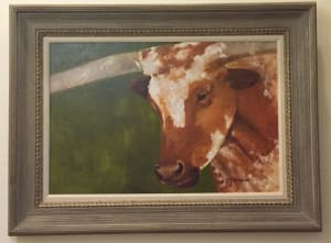 Working man longhorn 24 x 36 with frame 48 x 36 krgaea