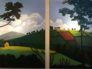 """""""Hilltop"""" (after a Rufus Porter mural)"""