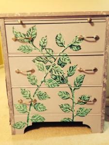Refurbished purple green vine dresser