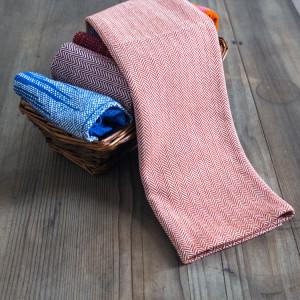 Lana hand woven burnt orange herringbone tea towel