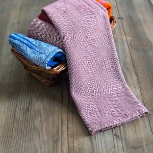 Lana hand woven raspberry herringbone tea towel