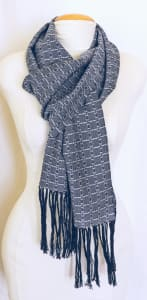 Anita hand woven silver and black patterned scarf