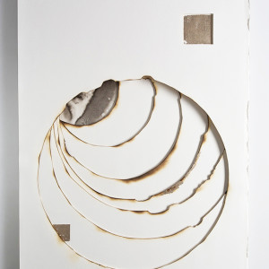 Kelly m. o brien playing with fire no. 77. paper gold leaf ink flame. 32 x 24 x 1.5 inches