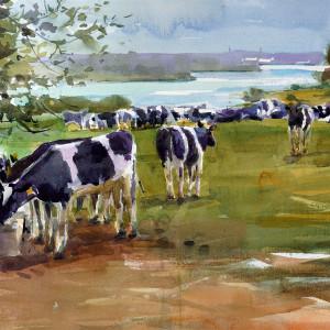 2018 art painting watercolor landscape artramon farm by kate kos   a cow s life copy qd3ksx