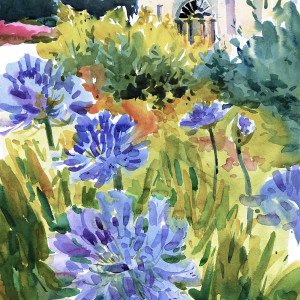 2018 art painting watercolor landscape artramon house by kate kos   agapanthus copy vxnmee