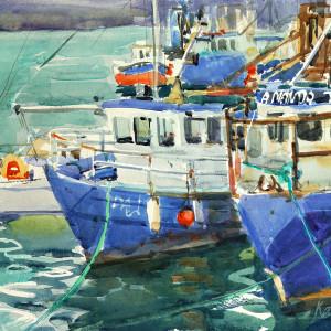 2018 art painting watercolor seascape fishing boats by kate kos   skerries ferries copy vomvk8