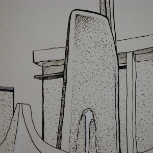 Pen & Ink Confederation Square Fountain Victoria BC