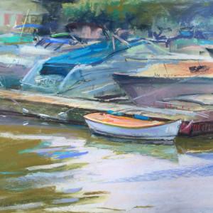 Lone boat 12 x 16 pastel dkvpwe