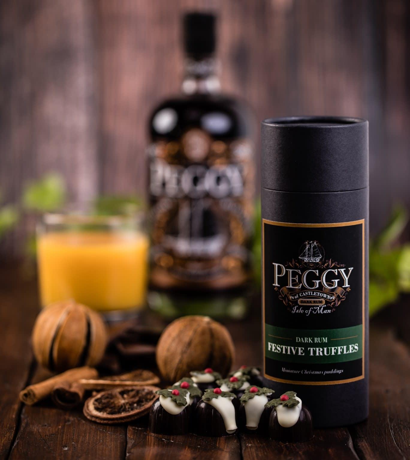 A box of Peggy Dark Rum Festive Truffles on a table