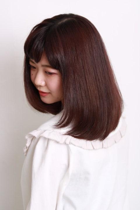 【髪質改善】ピンクブラウンミディ