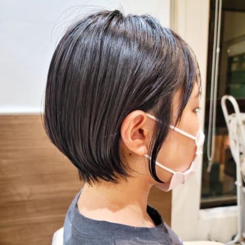 縮毛矯正×耳かけショートボブ