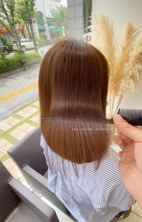 内巻きにおさまる髪質改善