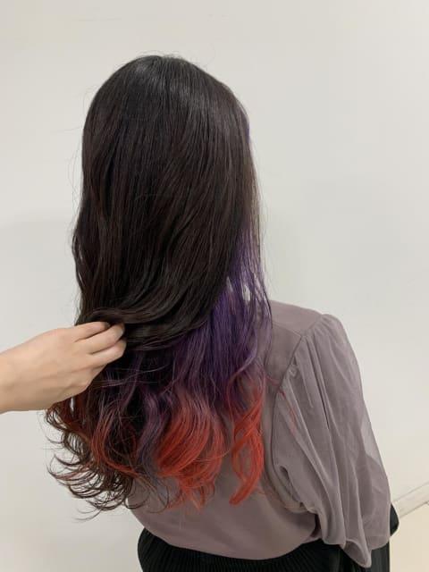 ♡インナーカラー『紫+赤』♡