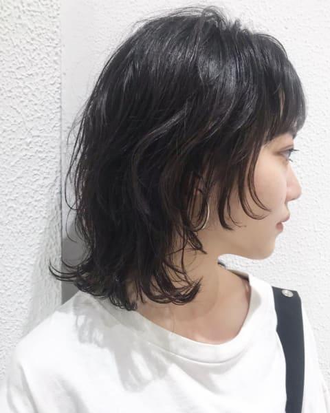 黒髪ウルフ×デジタルパーマ