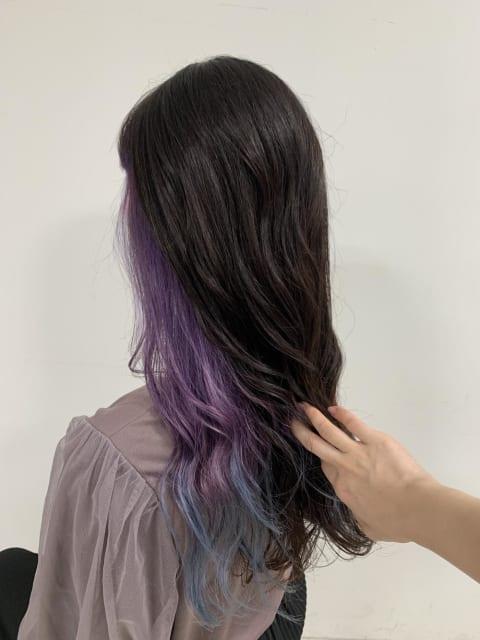 ♡インナーカラー『紫+青』♡