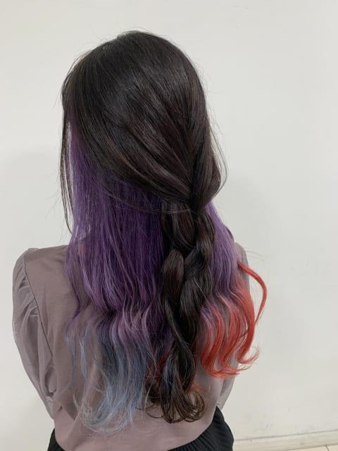 ♡インナーカラー『紫+赤+青』♡