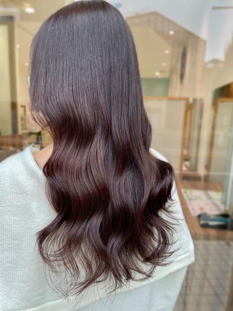 【髪質改善カラー】ピンクブラウンで女性らしさアップ
